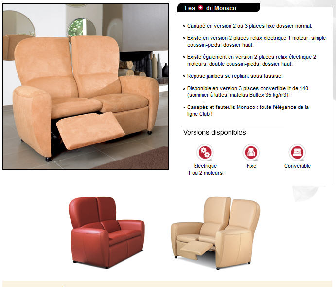 Acheter Canapés de relaxation > Ligne Club > MONACO