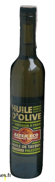 Huile d'Olive vierge de Taybeh Palestine (1ere pression a froid) 500ml Alter Eco