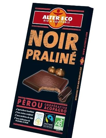 Acheter Chocolat noir praliné bio et équitable 100g - Aler Eco