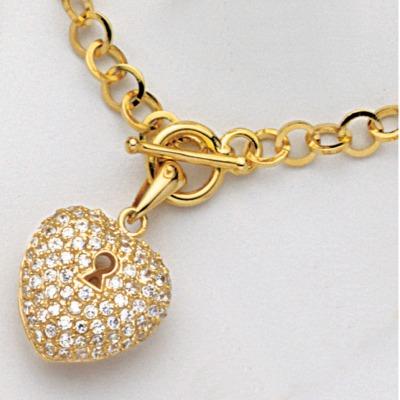 Collier cœur plaqué or et oxydes de zirconium