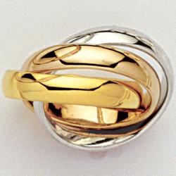 Alliance 3 anneaux plaqué or 3 tons