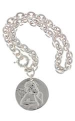 Collier grosse médaille chaîne gros maillons Iris Océane