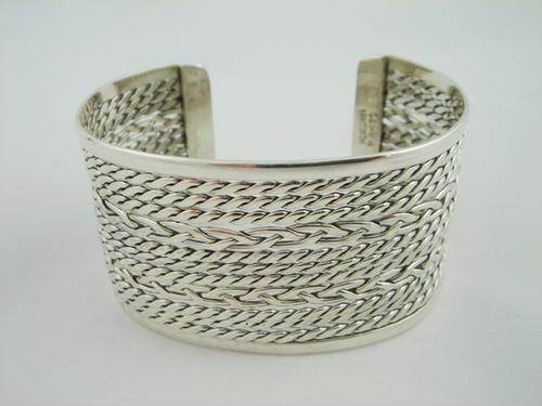 """Bracelets > Bracelet Argent Massif > Bracelet Argent Rigide Tresse """"Babylone"""""""