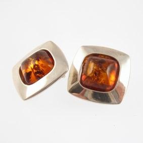 Boucles d'oreilles clip carré ambre - Balticambre