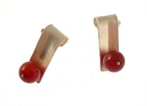Boucles d'oreilles argent et Agate rouge - Sopiko