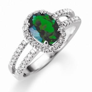 Bagues et Fiançailles > Bagues diamants et pierres précieuses > Joncs or diamants et émeraude