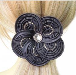 Acheter Catogan fleur en satin gris