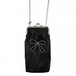 Idées cadeaux > Pochette soirée noir nœud strass