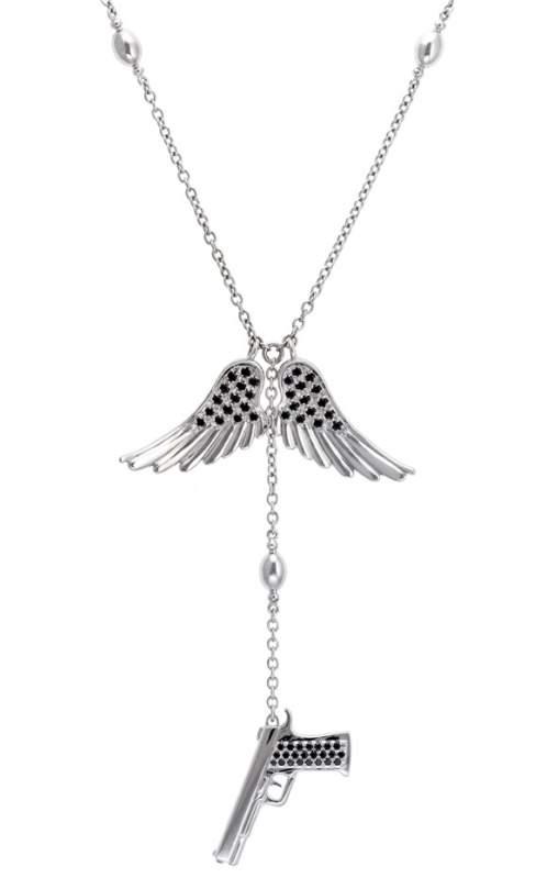 Sautoir Unisexe - Or & Diamant noir - Corpus Christi - Pistolet & Ailes