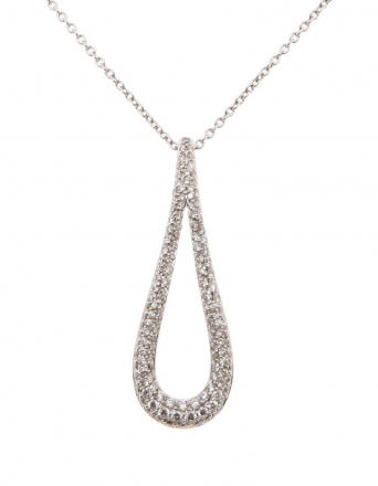 Pendentif Larme de Déesse Or Blanc et Diamants REF. CMPOLB45DG
