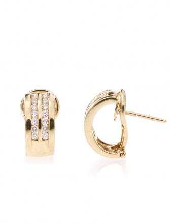 Boucles d'oreilles Rail Double Or Jaune et Diamants REF. EV23062DXJ