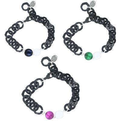 Acheter Bracelet perle laquée sur chaîne noire Baroca