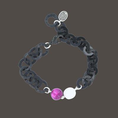 Acheter Bracelet perle laquée sur chaîne noire Baroca Ref. produit : BUB005BR