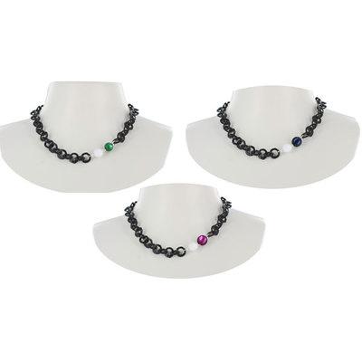 Acheter Collier court perle laquée sur chaîne noire Baroca