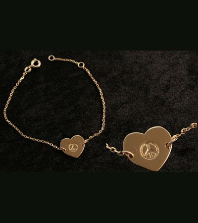 Bracelet chaîne plaqué or cœur peace gravé  Baroca