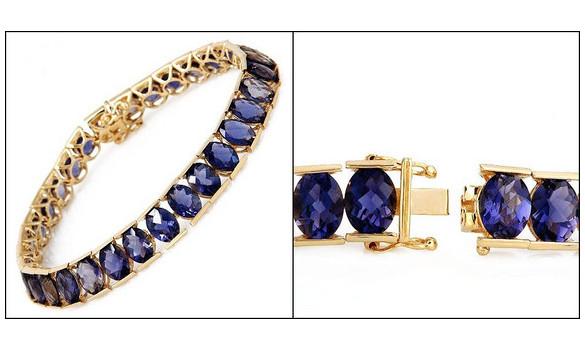 Bracelet or et 31 cordiérites de 31,75 c - 091830