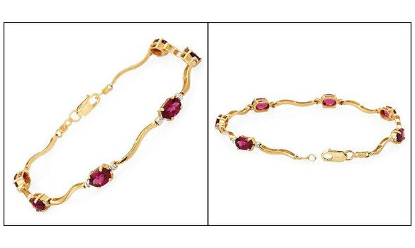 Bracelet or diamants rhodolites grenats - 1279715