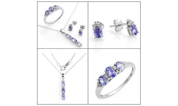 Parure or blanc diamant et tanzanite - 36434091