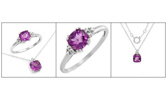 Parure or blanc, diamant et améthyste - 1255128