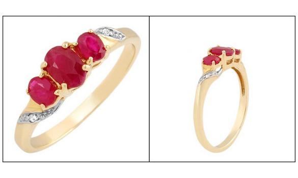 Bague or diamant et rubis - 012251610