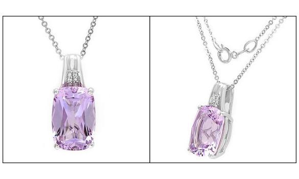 Pendentif or blanc diamant améthyste - 0040147352