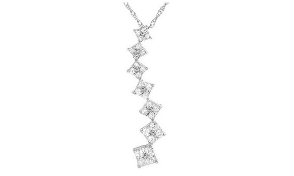 Pendentif or blanc et 28 diamants - 1294855