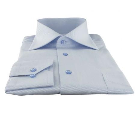 Chemise Homme Cotton Park Classique Twill Bleue Col Italien