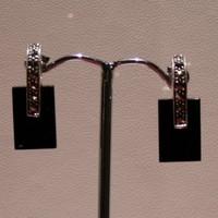 Boucles d'oreilles argent, onyx, marcassites -XM804-