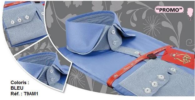 Acheter Chemise homme Dandy - Coloris : Bleu - Réf. : T9AM1