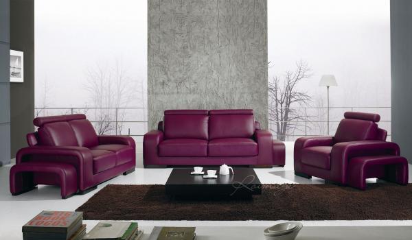 Acheter Canapés Design - Ensemble salon 3+2+1 en Cuir Athènes - Prune
