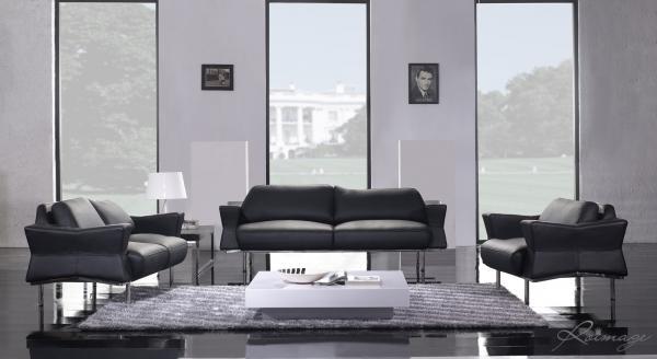 Acheter Canapés Design - Ensemble Canapé 3+2+1 Salon en Cuir Mrs White - Noir