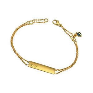 Bracelet gourmette or et breloque or et émail 14 mm - longueur 16 cm (plaque 5x22) - Petit Prince couché dans l'herbe