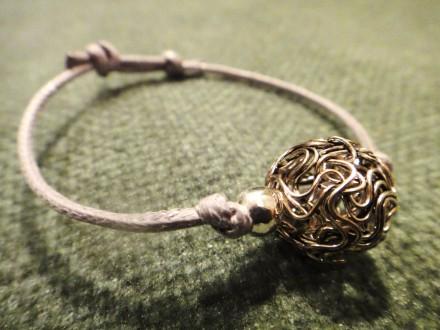 Bracelet coton ciré perle Argentée - ID de la création : 392197
