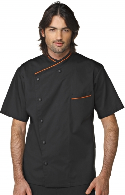 Veste de cuisine noire liseré orange Giblor\'s buy in Tarbes on Français