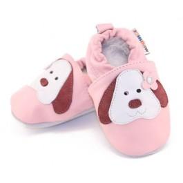 Acheter Chaussons bébé fille › Chaussons bébé cuir souple chiens rose