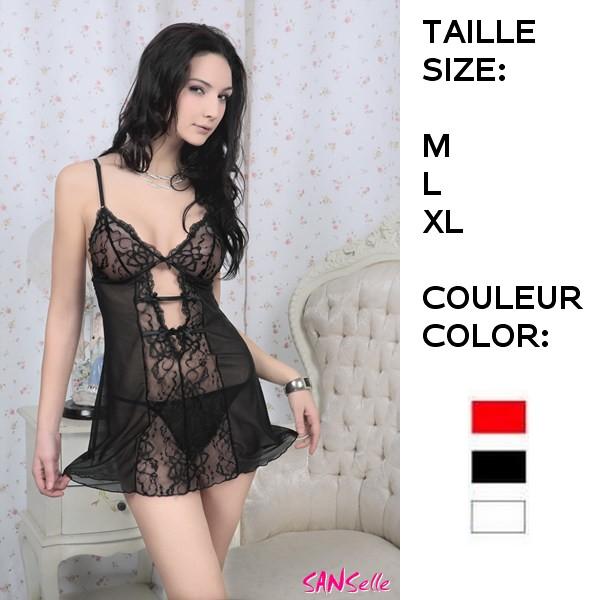 Nuisette Sanselle: babydoll + pantie dentelle Size: M/L/XL (colors: white/black/red) (ref: J981217).