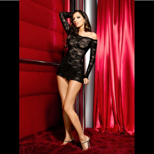 Nuisette sexy en dentelles noir manches longues