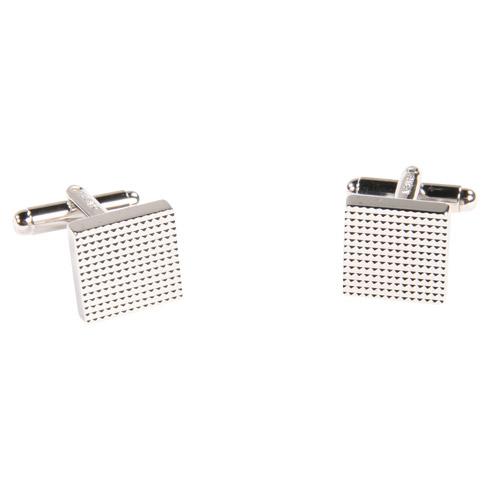 Boutons de manchette - Modèle carré argent motif diamanté