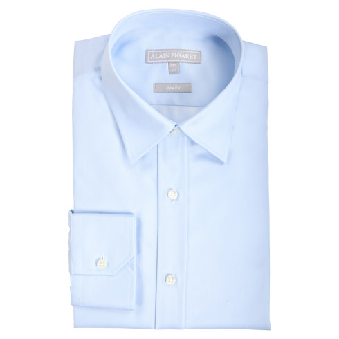 Chemise ajustée en twill uni bleu clair