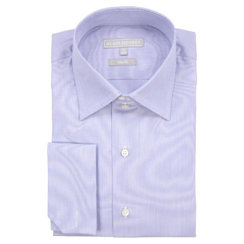 Chemise cintrée en popeline blanche à rayures bleues