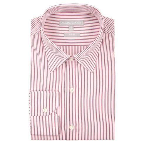 Chemise ajustée en popeline blanche à rayures rouges
