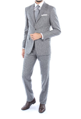 Acheter Costume Raymond flanelle laine et cachemire gris moyen rayé ...