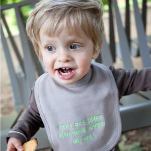 Bavoir bébé en coton bio taupe