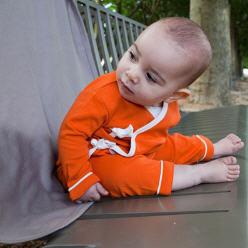 Kimono bébé bio personnalisé mandarine