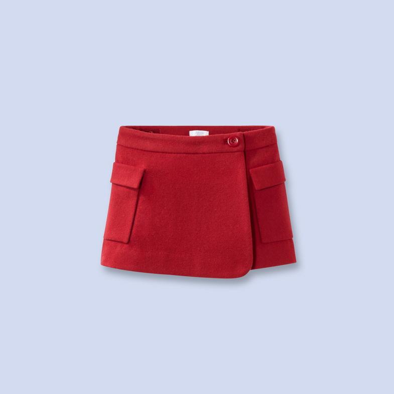 Jupe en lainage rouge