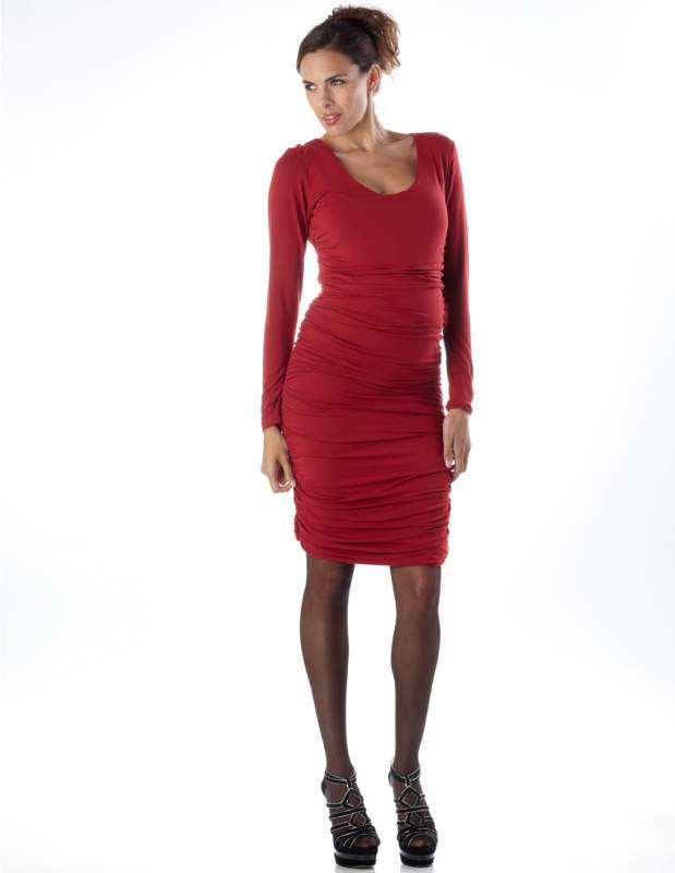 Robe Galbante Froncee rouge