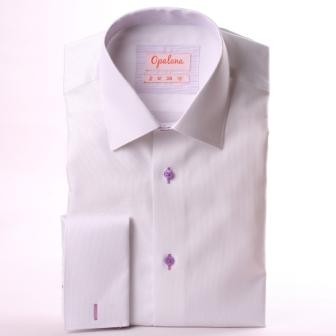 Chemise blanche à col et poignets mousquetaires à fines rayures mauves