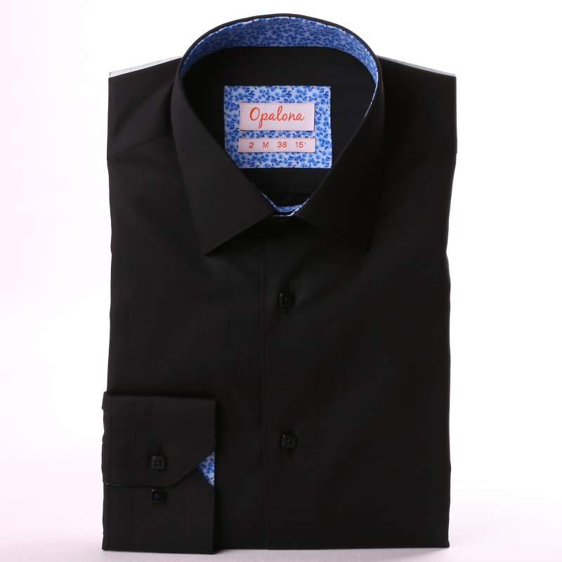 Chemise noire à col et poignets à fleurs bleues