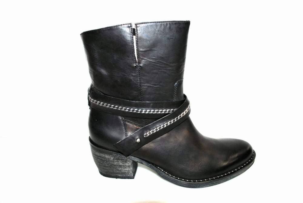 Acheter Bottine boots cuir noir chaussure femme