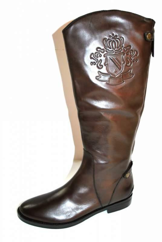 Acheter Botte Cavalière Bottes cuir marron chaussure femme